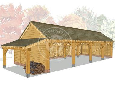 kI4003 | The Kinsham | 4 Bay Oak Framed Garage | Radnor Oak
