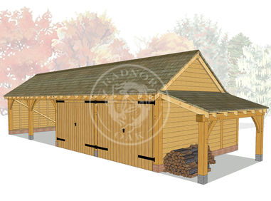 kI4005 | The Kinsham | 4 Bay Oak Framed Garage | Radnor Oak