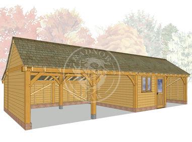 kI4010 | The Kinsham | 4 Bay Oak Framed Garage | Radnor Oak