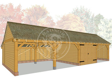 kI4013 | The Kinsham | 4 Bay Oak Framed Garage | Radnor Oak