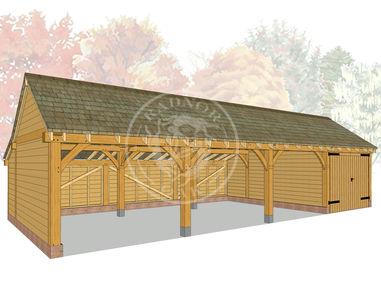 kI4016 | The Kinsham | 4 Bay Oak Framed Garage | Radnor Oak