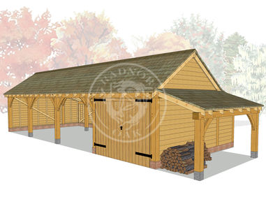 kI4017 | The Kinsham | 4 Bay Oak Framed Garage | Radnor Oak
