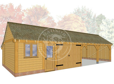 kI4022 | The Kinsham | 4 Bay Oak Framed Garage | Radnor Oak