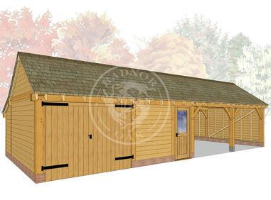 kI4025 | The Kinsham | 4 Bay Oak Framed Garage | Radnor Oak