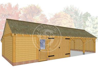 kI4028 | The Kinsham | 4 Bay Oak Framed Garage | Radnor Oak