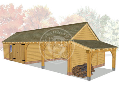 kI4029 | The Kinsham | 4 Bay Oak Framed Garage | Radnor Oak