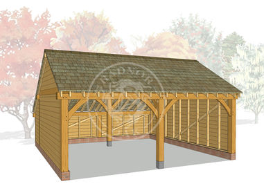 Oak Framed 2 Bay Oak Framed Garage with a rear Cat Slide log store | Radnor Oak