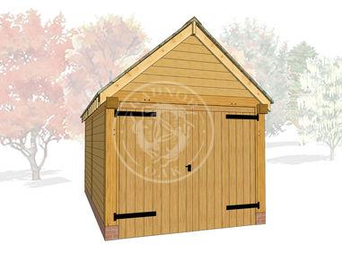 S002 | Stapleton | Single Bay Oak Framed Garage with Double Doors | Radnor Oak | 3D Model