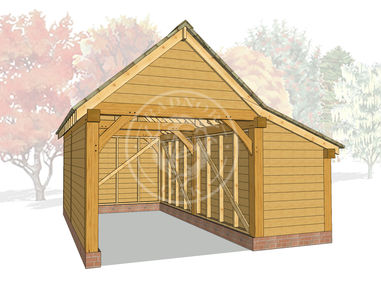 S003 | The Stapleton | Single Garage with Log store | Radnor Oak |