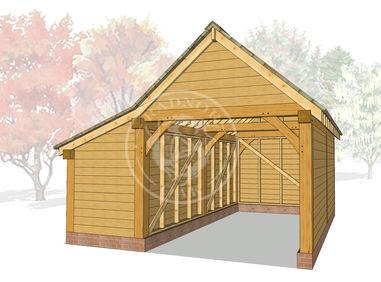 S005 | Stapleton | Single Garage with Double Doors & Store | Radnor Oak | 3D Model