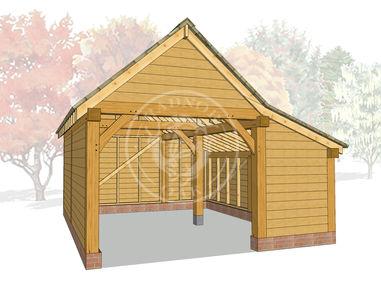 S007   Radnor Oak   Single bay Garage With Side Store   Oak Framed Garage