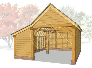 S008 | Radnor Oak | Single bay Garage With Side Store | Oak Framed Garage