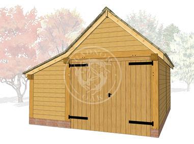 S009 | Radnor Oak | Single Garage with Double Doors & Store | 3D Model