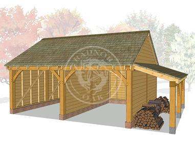 WA2008 | The Walton | 2 Bay Oak Garage with Partition Wall & Log store | Radnor Oak