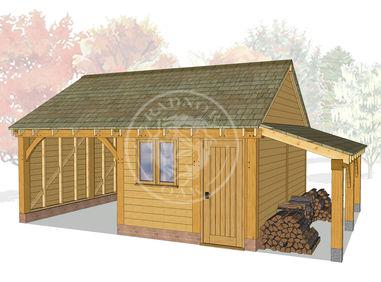 WA2011 | The Walton | 2 Bay Oak Garage with Workshop & Log Store | Radnor Oak