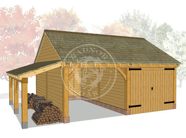 WA2021 | The Walton | 2 Bay Oak Framed Garage | Radnor Oak