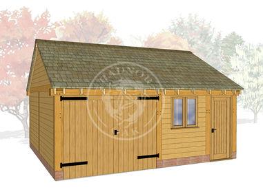 WA2022 | The Walton | 2 Bay Oak Framed Garage with Workshop | Radnor Oak