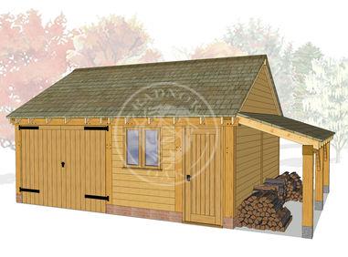 WA2023 | The Walton | 2 Bay Oak Framed Garage with Workshop & Log Store | Radnor Oak