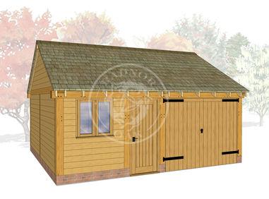 WA2025 | The Walton | 2 Bay Oak Framed Garage with Workshop | Radnor Oak