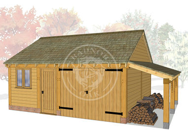 WA2026 | The Walton | 2 Bay Oak Framed Garage with Workshop & Log Store | Radnor Oak