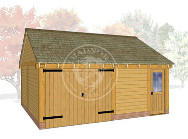 WA2028 | The Walton | 2 Bay Oak Framed Garage with Workshop | Radnor Oak