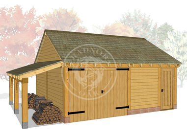 WA2030 | The Walton | 2 Bay Oak Framed Garage with Workshop & Log Store | Radnor Oak