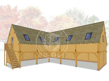 L Shaped Oak Lofted Garage | Brampton | BSP002 | Radnor Oak