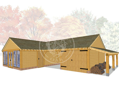 L Shaped Oak Framed Garage Complex | Radnor Oak | BSP007