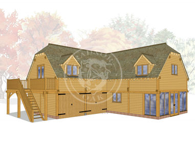 Oak Framed Garage complex with Sun Room and Room above for offices or living space